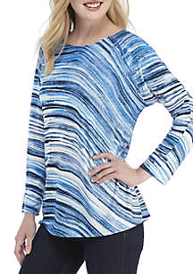 New Directions® 3/4 Sleeve Dolman Sleeve Top with Grommets