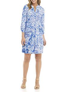 3/4 Roll-Tab Sleeve Y-Neck Dress