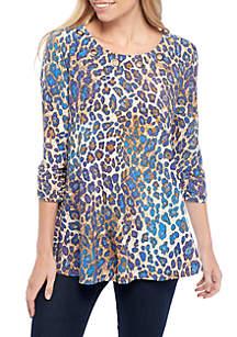 3/4 Sleeve Leopard Print Grommet Swing Top