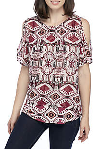 Cold Shoulder Aztec Print Knit-to-Woven Blouse