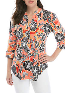 New Directions® 3/4 Sleeve Floral Henley Top