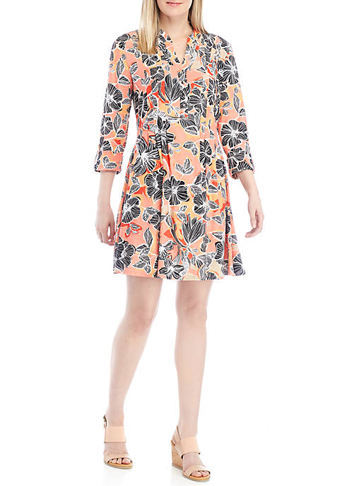 New Directions® 3/4 Sleeve Coral Floral Henley Dress