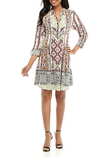 New Directions® 3/4 Sleeve Medallion Henley Dress