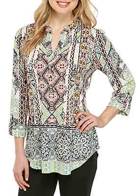a0dab5963b7a55 New Directions® 3/4 Sleeve Aztec Medallion Henley Top ...