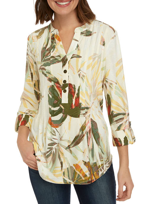 New Directions® Womens 3/4 Roll Tab Sleeve Palm