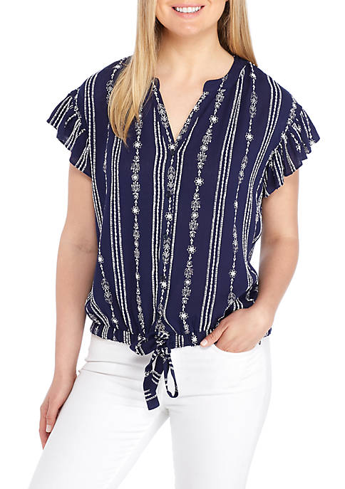 New Directions® Woven Short Sleeve Tie Front Embroidered