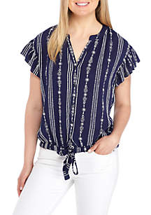 Woven Short Sleeve Tie Front Embroidered Top