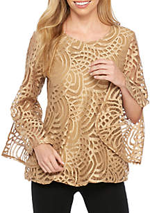 Three-Quarter Angel Sleeve All Over Lace Tunic