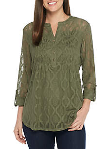 Three-Quarter Roll-Tab Sleeve All Over Lace Henley Top