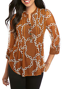 New Directions® High Low 3/4 Sleeve Mesh Dot Top