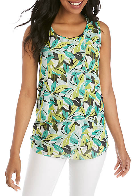 Sleeveless Palm Printed Tank with Mesh Overlay