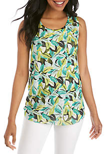 New Directions® Sleeveless Palm Printed Tank with Mesh Overlay