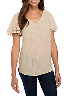 Short Sleeve Textured High Low Blouse