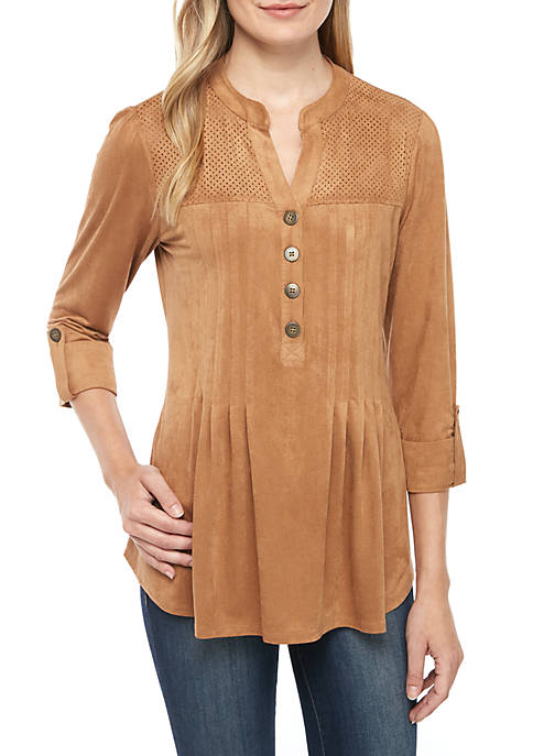 3/4 Sleeve Faux Suede Henley Top