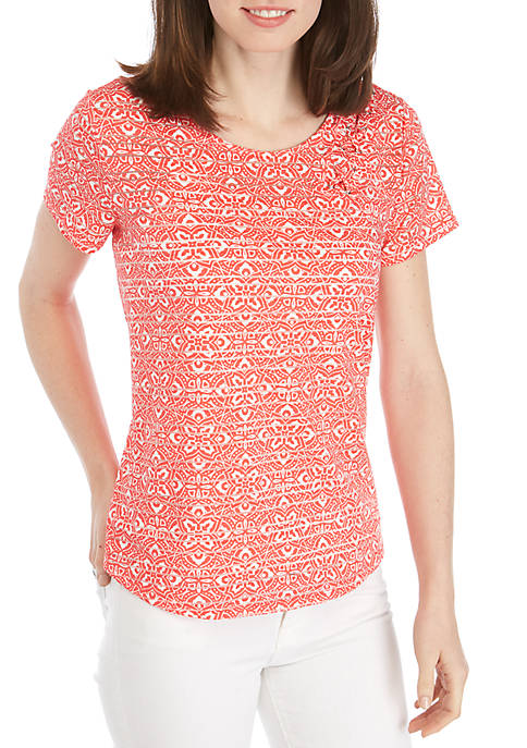 New Directions® Short Sleeve Cross Front Shadow Stripe