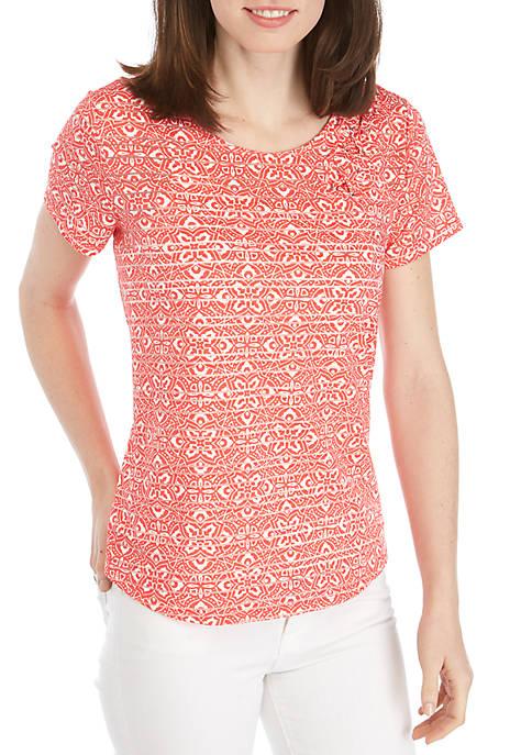 Short Sleeve Cross Front Shadow Stripe Top