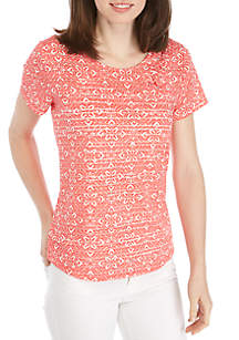 New Directions® Short Sleeve Cross Front Shadow Stripe Top