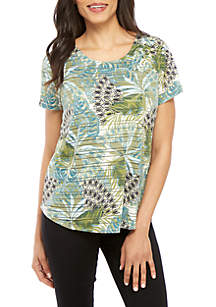New Directions® Short Sleeve Cross Front Palm Print Top