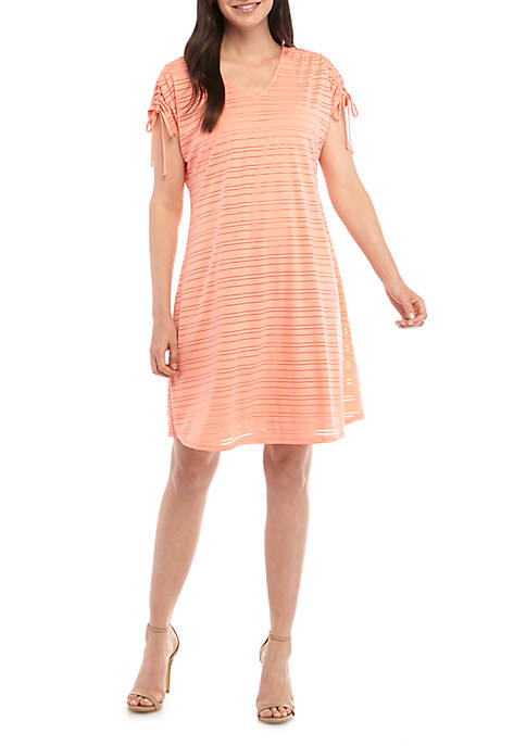 New Directions® Short Ruched Sleeve Dress