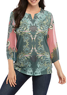 New Directions® 3/4 Sleeve Sublimated Knit Top