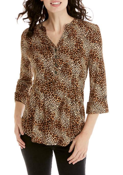 Womens 3/4 Sleeve Leopard Print Top