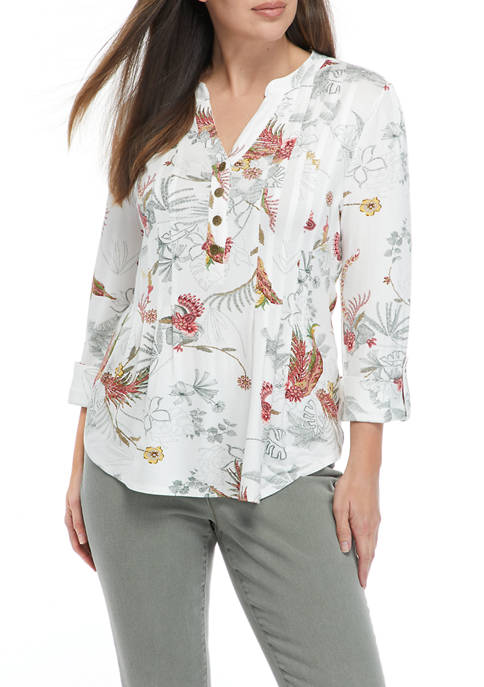 New Directions® Womens Roll Tab Printed Knit Henley
