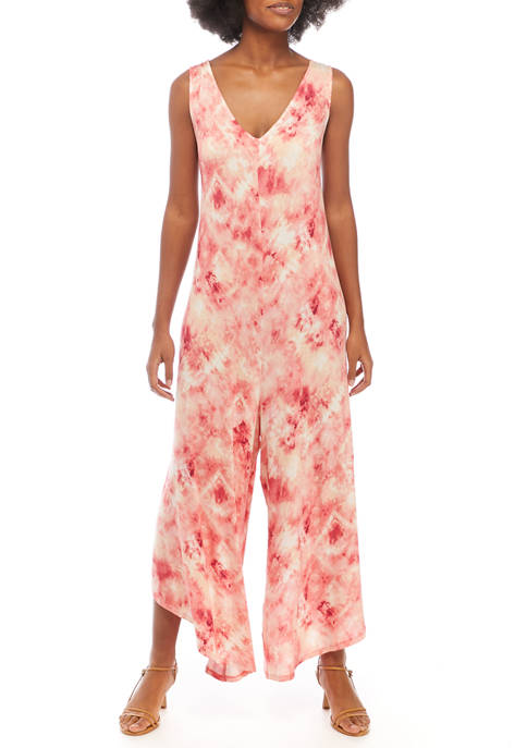 New Directions® Womens Sleeveless Tie Dye Jumpsuit