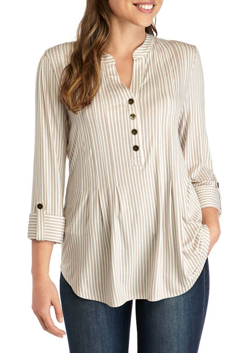 New Directions® Womens 3/4 Roll Tab Sleeve Stripe