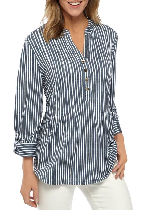 Womens 3/4 Roll Tab Sleeve Stripe Henley Blouse