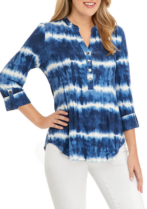 Womens Roll Tab Sleeve Tie Dye Top