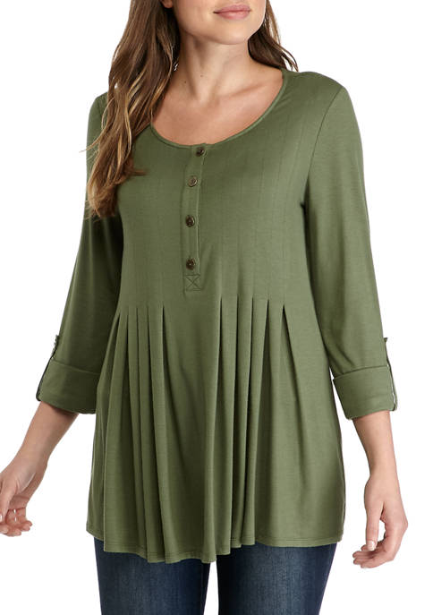 New Directions® Womens 3/4 Roll Tab Sleeve Henley