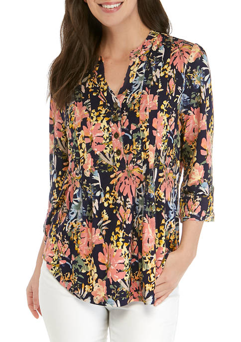 Womens 3/4 Sleeve Floral Print Top
