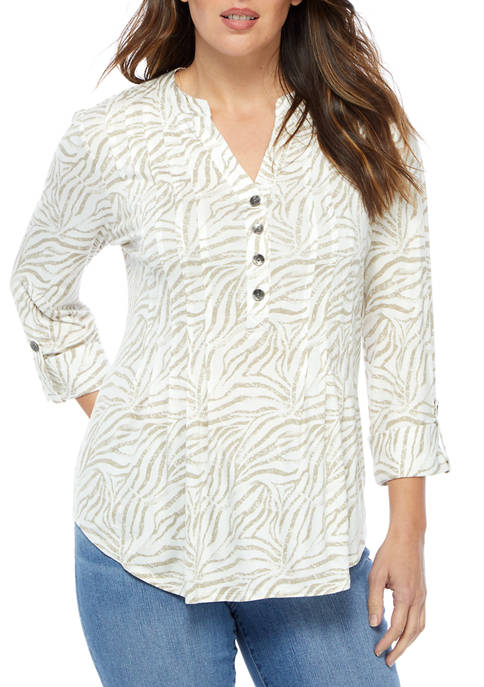 New Directions® Womens Roll Tab Knit Henley Top