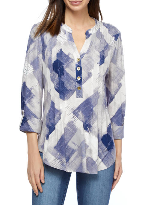 Womens Roll Tab Knit Printed Henley Shirt