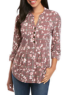 New Directions® 3/4 Sleeve Floral Print Top