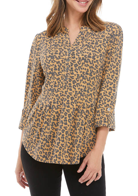 New Directions® Womens Roll Tab Sleeve Henley Top