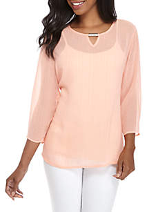 Three-Quarter Sleeve Textured Woven Top
