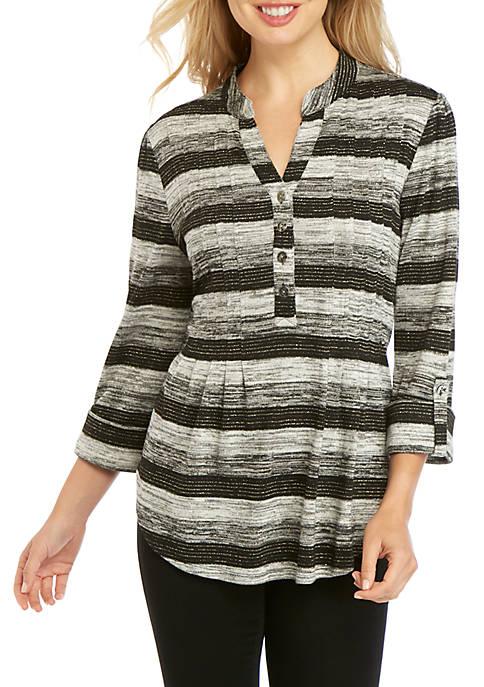 New Directions® 3/4 Sleeve Lurex Stripe Henley Top