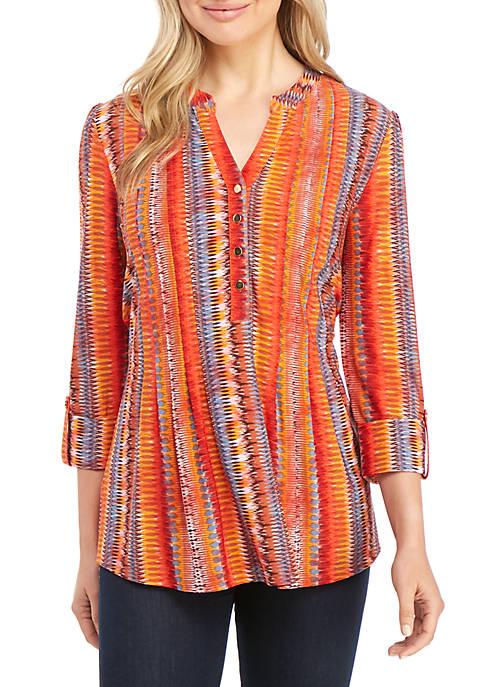 New Directions® 3/4 Sleeve Blanket Stripe Top
