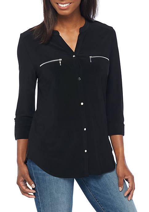 Three-Quarter Sleeve Zip Pocket Top