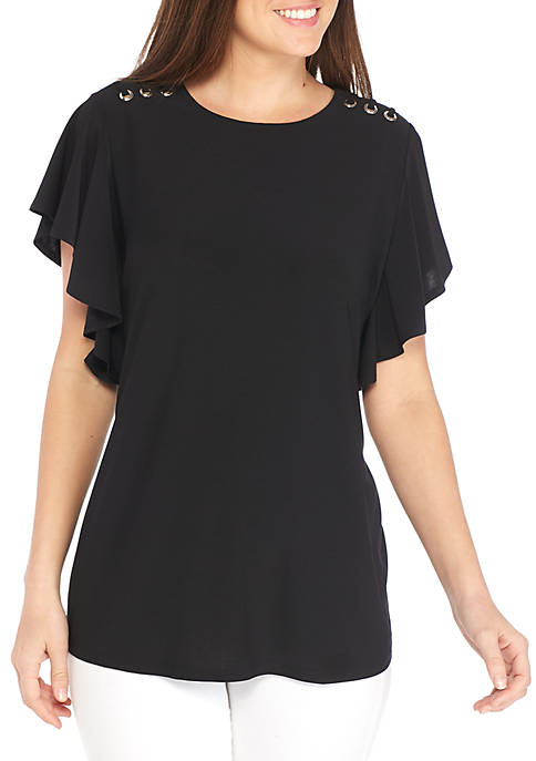 New Directions® Short Sleeve Ruffle Side With Grommet