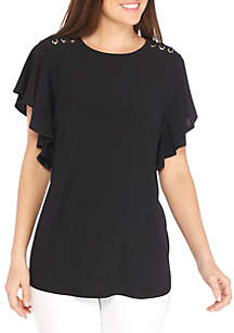Short Sleeve Ruffle Side With Grommet Shoulder Knit Top