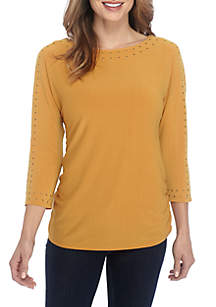 3/4 Sleeve Studded Sleeve and Neck Detail Top