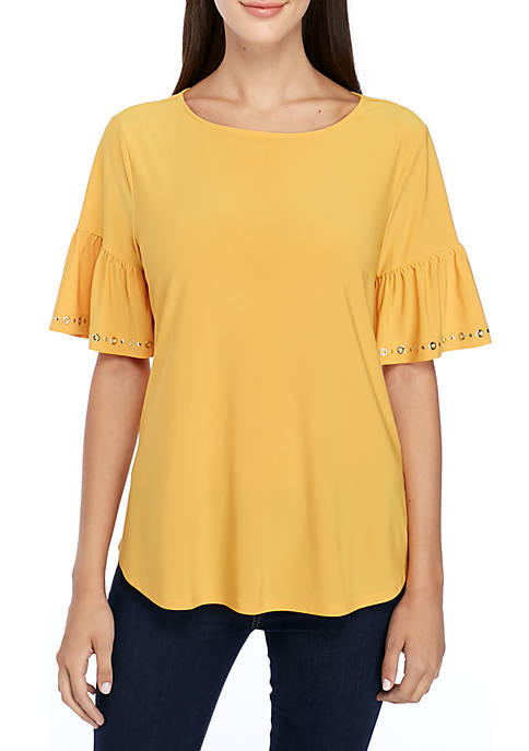 New Directions® Grommet Bell Sleeve Knit Top