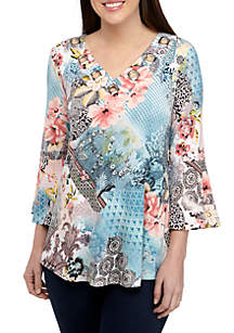 New Directions® 3/4 Sleeve Grommet Swing Multi Statement Print Top