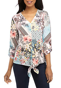 New Directions® 3/4 Sleeve Button Down Tie Front Top