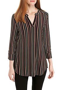 Three-Quarter Sleeve Puff Stripe Split Neck Tunic