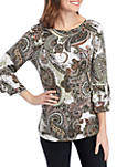 3/4 Double Bell Sleeve Puff Print Top