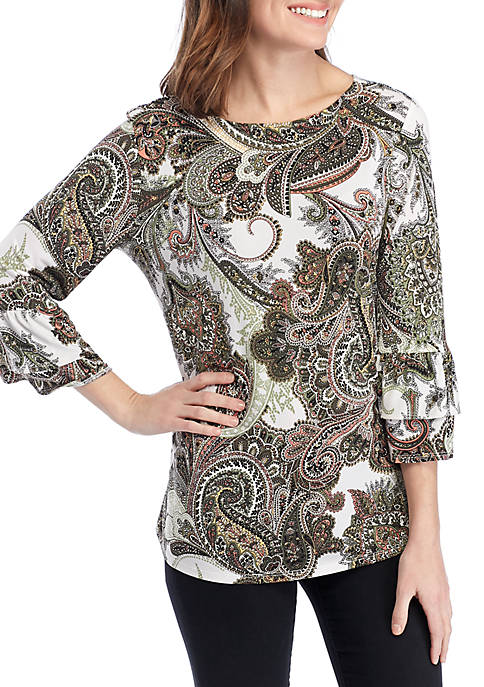 New Directions® 3/4 Double Bell Sleeve Puff Print