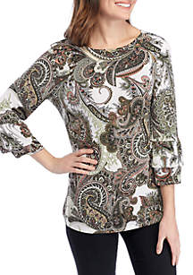 New Directions® 3/4 Double Bell Sleeve Puff Print Top